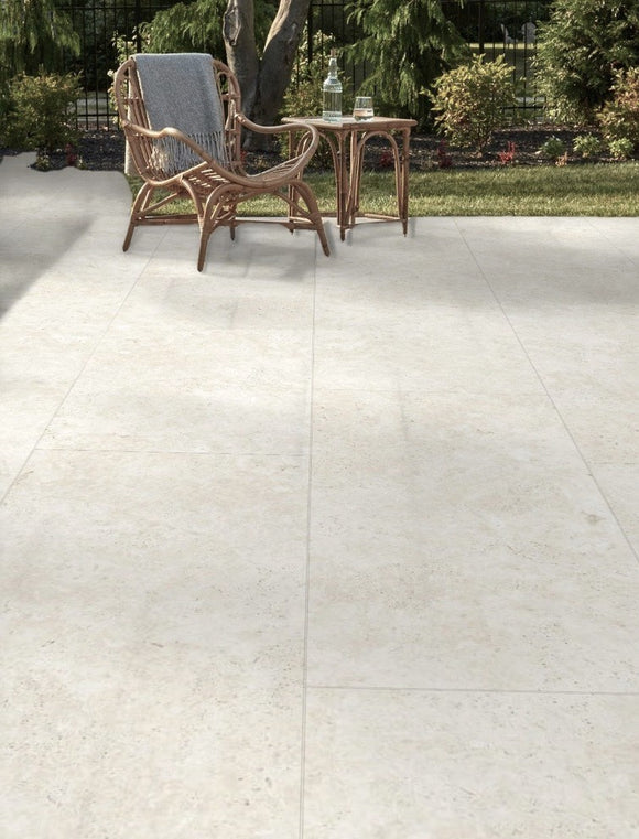 Beige Travertine Outdoor Porcelain Paving Slabs - 900x450 mm (4745199648846)