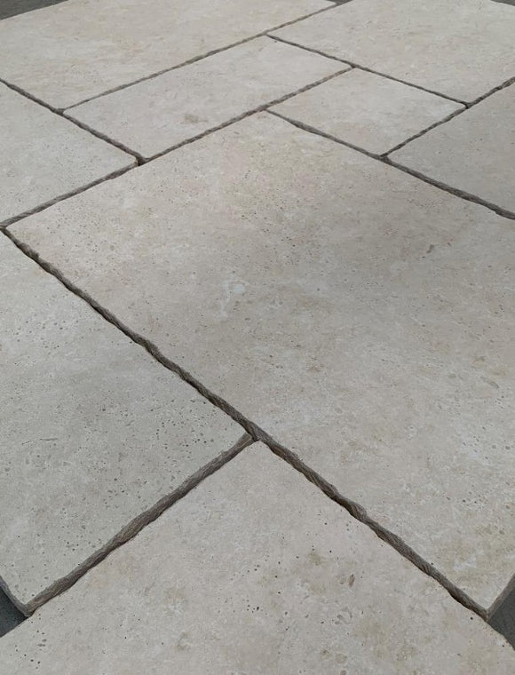 Ivory Travertine Tumbled Porcelain French Pattern Set- Mix Size Patio Pack (4603047673934)