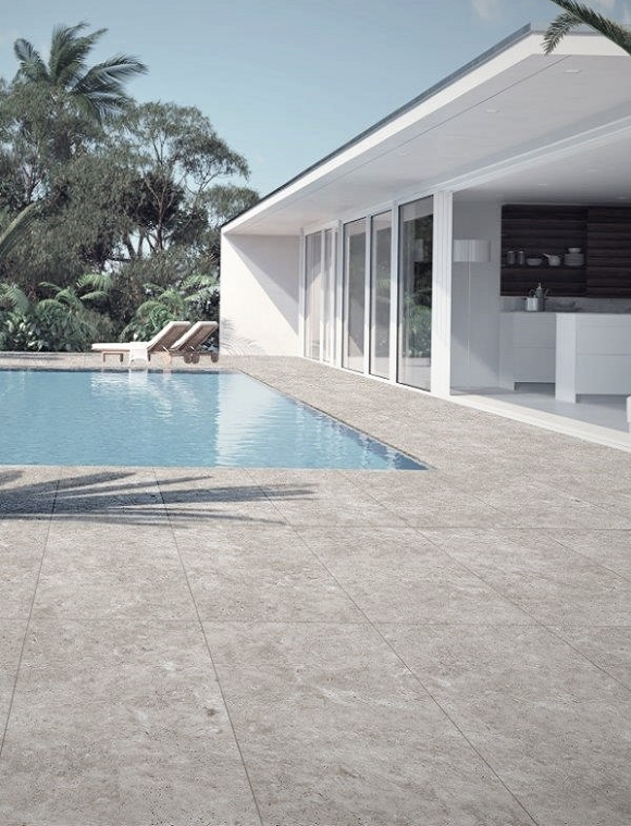 Silver Travertine Outdoor Porcelain Paving Slabs - 900x450 mm (4332585746510)