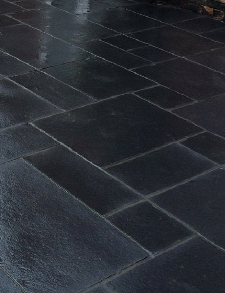 Midnight Black Limestone Paving Slabs - Mix Size - Tiles and Smiles (4334836744270)