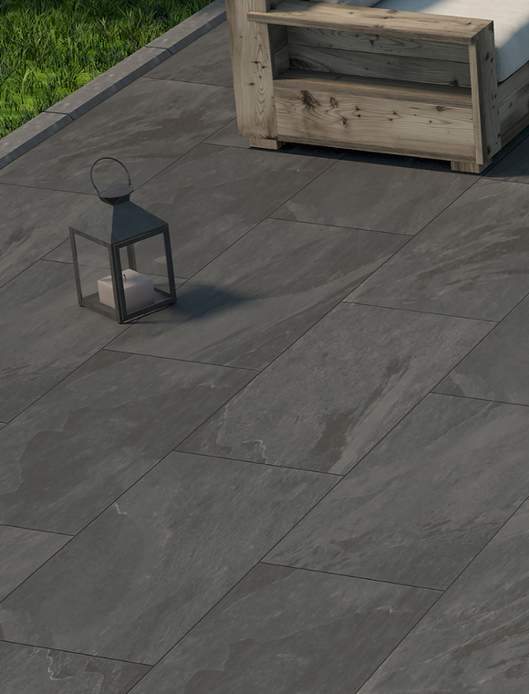 Nova Anthracite Outdoor Porcelain Paving Slabs - 900x450 mm (4677038702670)