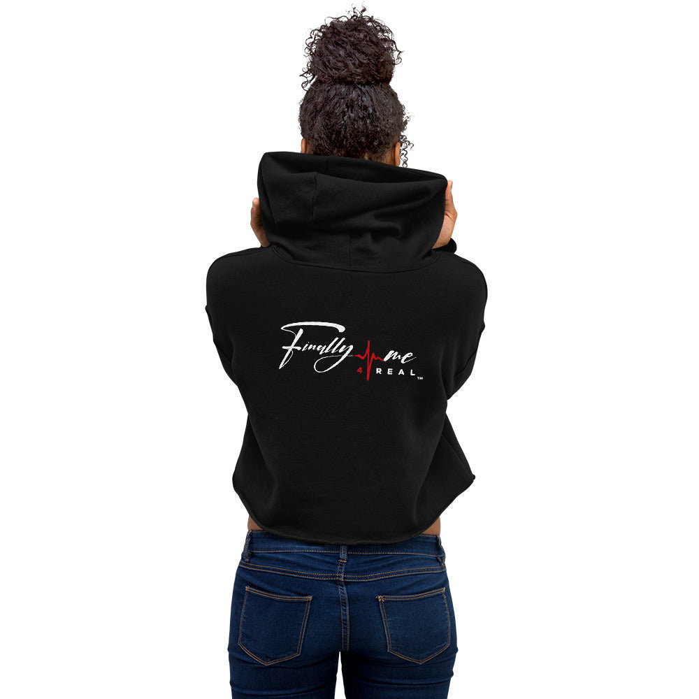 Black Finally Me 4 Real Crop Hoodie