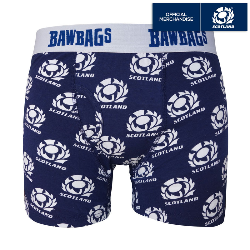 Kids Scotland Rugby Badge Cotton Boxer Shorts