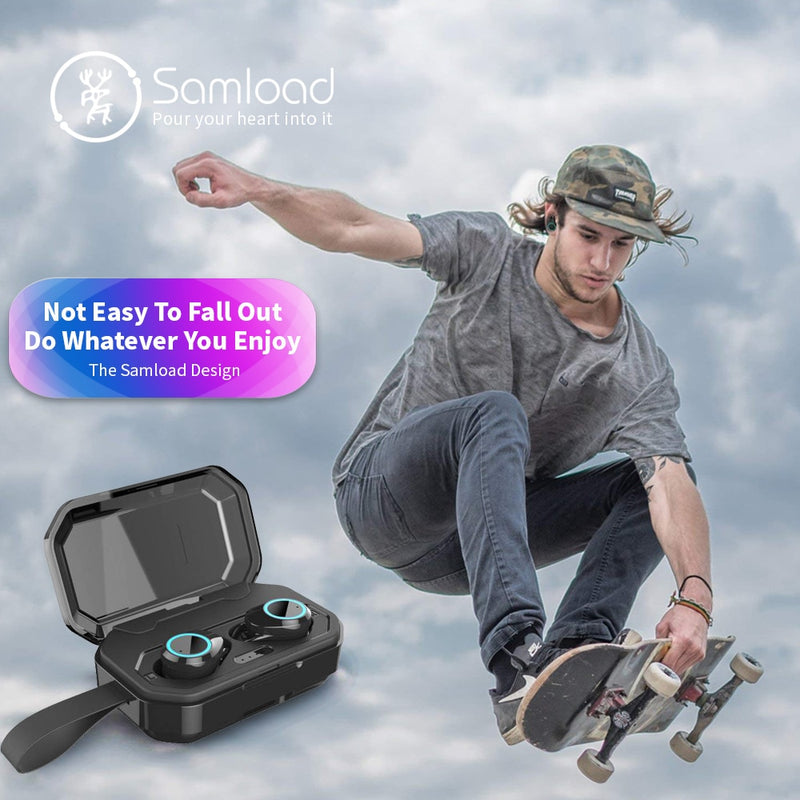 Samload Wireless Headphones 5.0 Bluetooth 3D Beep bass IPX6 Outdoor Cordless Earphones with 3000 mAh Power bank For IOS Android