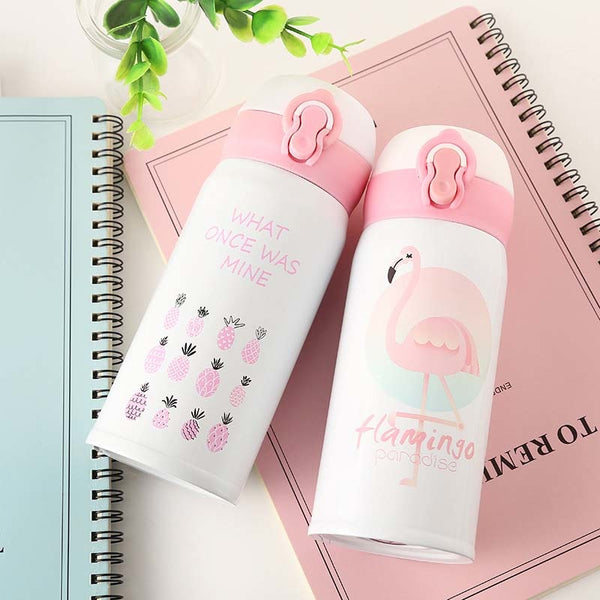 350ML 500ML Thermocup Bouncing Cover Bottle Vacuum Flask Flamingo Pattern Thermal Mug Travel Thermos Cup Stainless Steel (China)