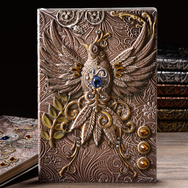 Retro Carved Phoenix Notebook