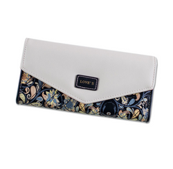 Ladies Long Damask 3 Fold Fashion Wallet