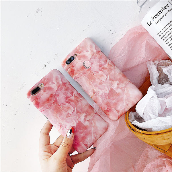 Pink marble mobile phone case iphone7plus/6s matte hard shell cover