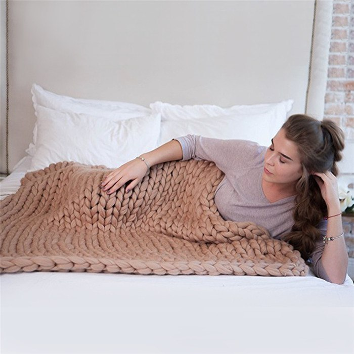 Chunky Knit Hand Woven Throw Blanket
