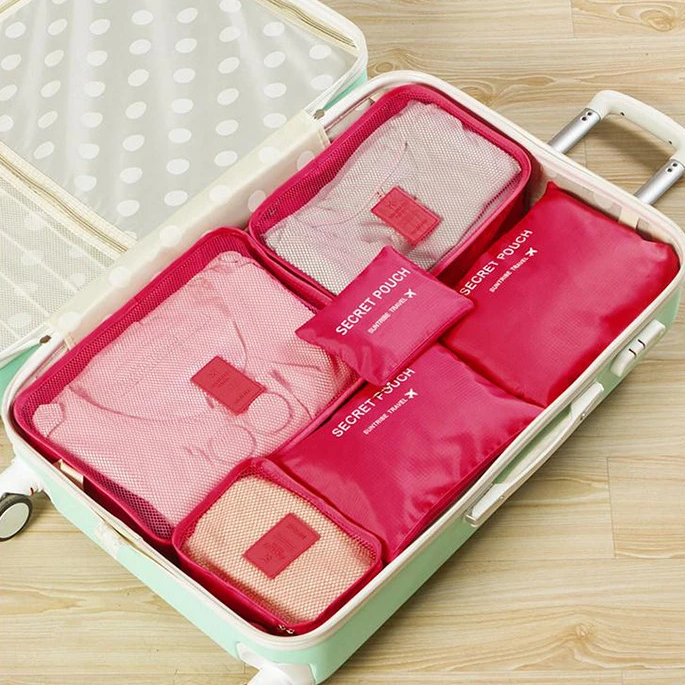 Solid Colour Travel Pack Organiser 6 Set