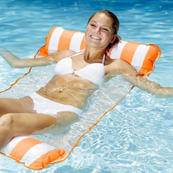 Water striped hammock inflatable floating bed
