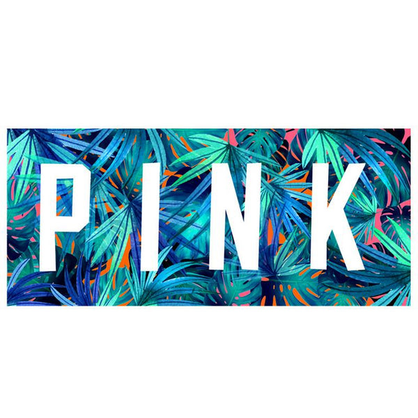PINK letters are palm leaves beach towel