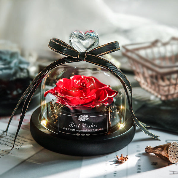 Eternal Flower Box Glass Cover for Christmas Valentine''s Day Gift Birthday Gift Red Preserved Roses