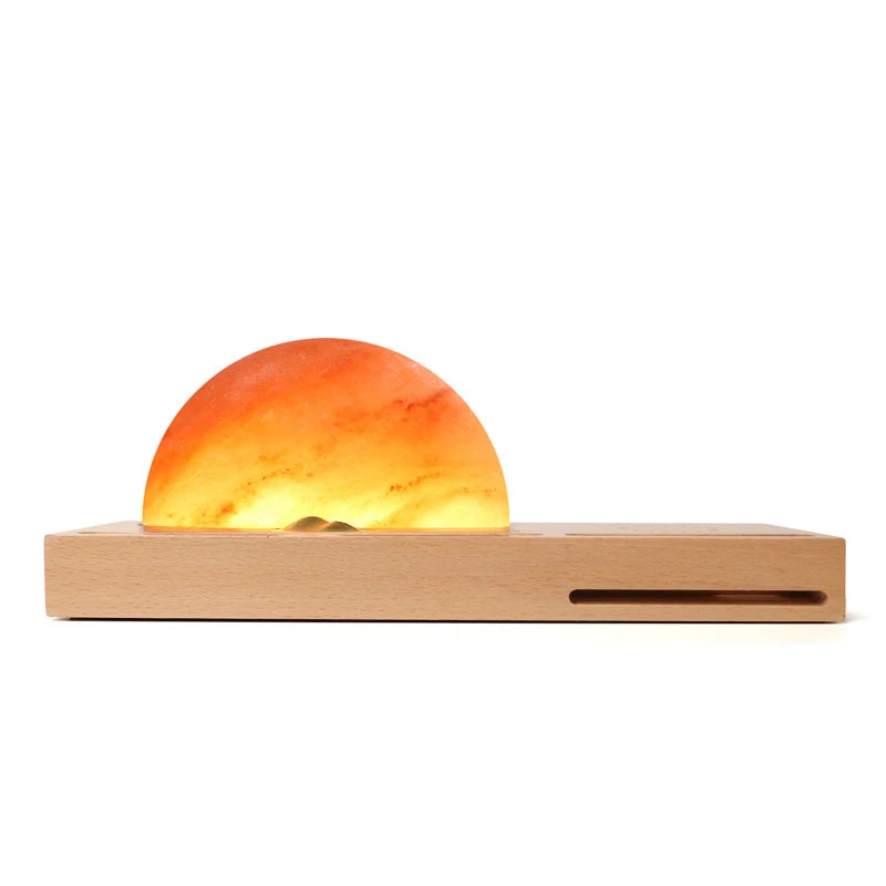 Sunrise Oriental led gift table lamp salt lamp with mobile phone wireless charging solid wood base mineral salt lamp shade