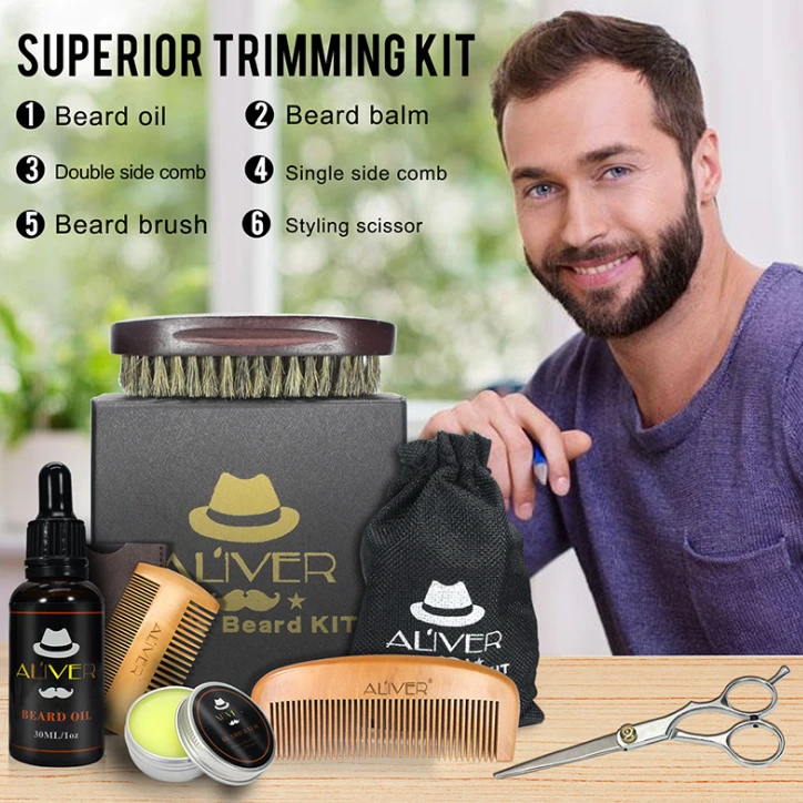 Beard care kit Beard comb Pig bristle brush Scissors Beard cream Oil 6-piece