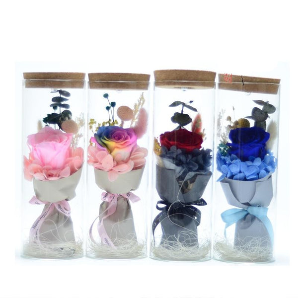 Eternal Roses Drifting Bottles Wishing Bottles Colorful Lights 38 Sections Gifts Creative Birthday Glass Cover