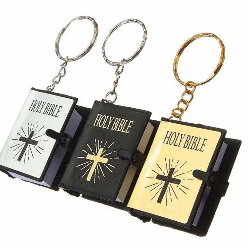 Cross mini bible book pendant keyring