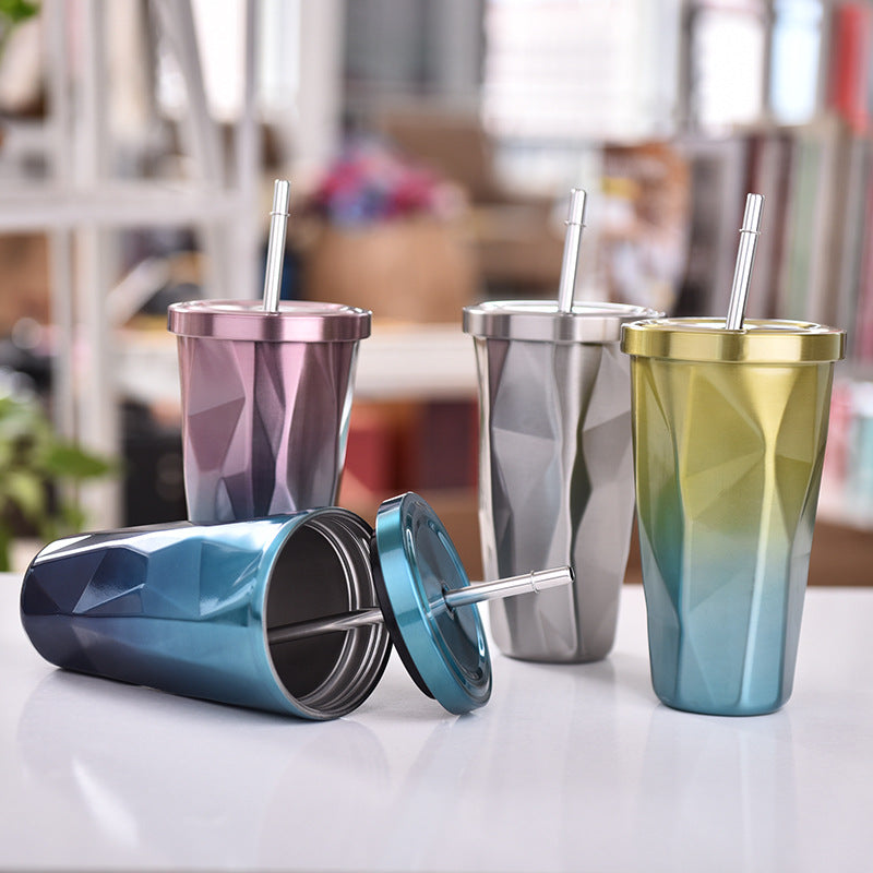 Hot pin tapered cup, diamond shaped vacuum insulated cup with suction cup stainless steel double layer water cup