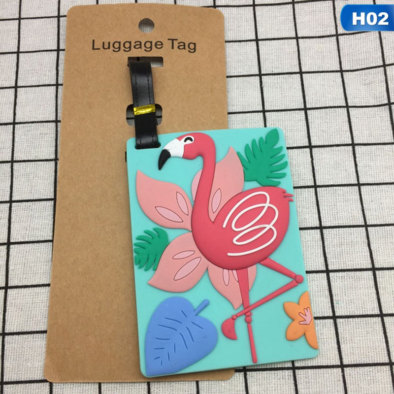 Holiday Flamingoes Travel ID Tag