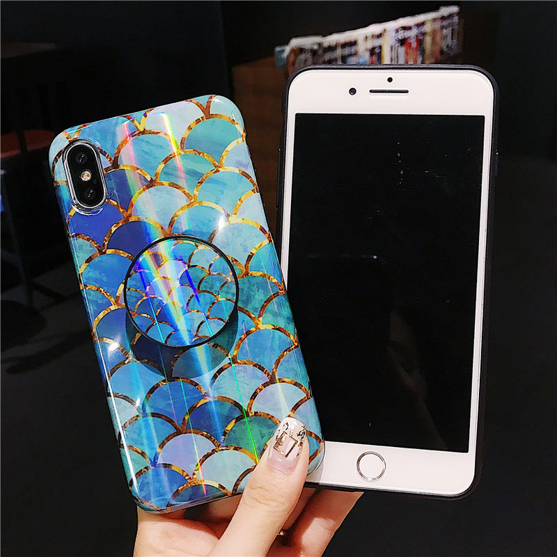 Blue fish scale creative ins wind laser bracket  mobile phone case