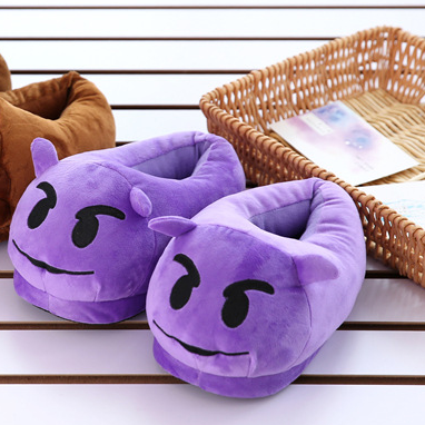Emoji slippers qq expression cartoon plush slippers qq expression full with home slippers