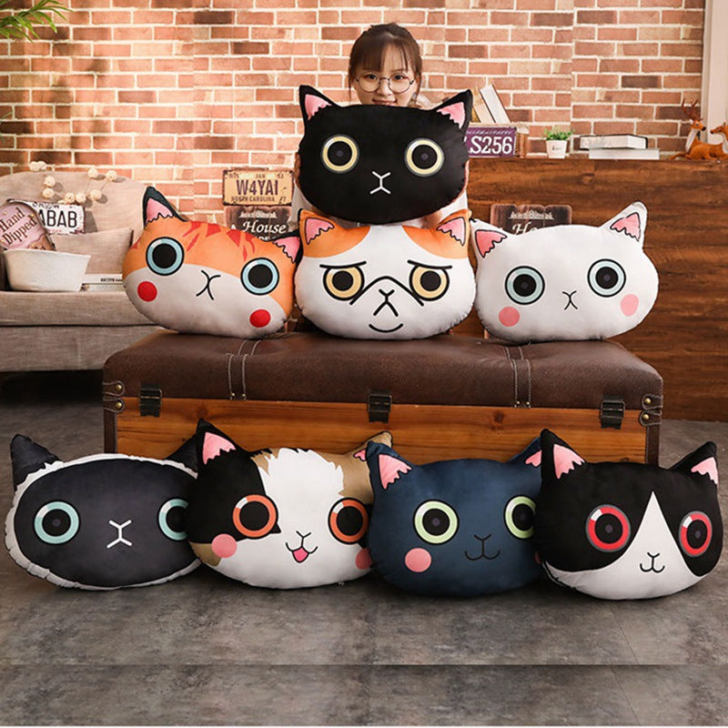 Cute cartoon cat pillow plush toy large sofa back