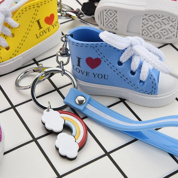 ZG 2019 Mini Silicone Canvas Shoes Keychain Bag Charm Woman Men Kids Key chain Cute Key Holder unisex shoe Key ring