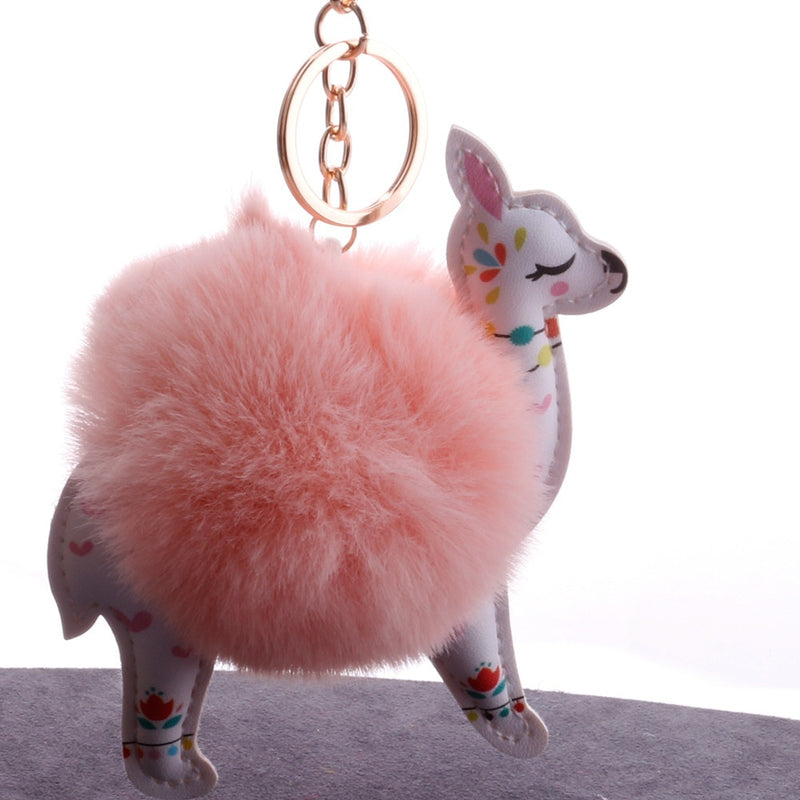 ZG Fluffy Fur Ball Cute Alpaca Keychain Leather Cartoon Key Ring Charm Artificial Rabbit Fur Pompom Key Chain Women Jewelry Gift