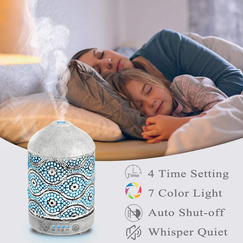 Essential Oil Metal Diffusers 100mL Aromatherapy Aroma Diffuser 7 Color Night Lights for Bedroom 4 Timer Cool Mist Humidifiers