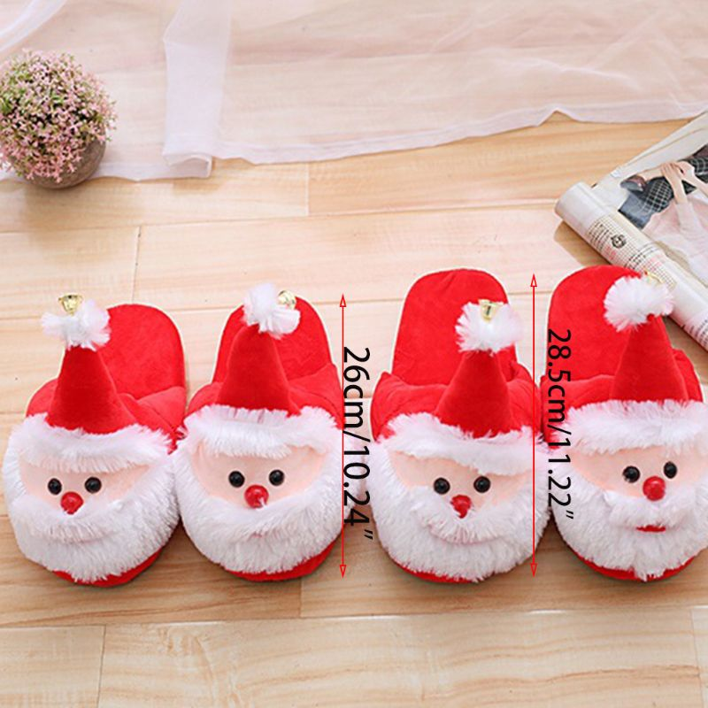 Women Men Christmas 3D Santa Claus Slippers Winter Plush Stuffed Anti-Slip Shoes