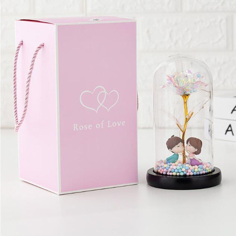 Dropshipping 2020 Galaxy Rose Flashing Flowers In Flask Glass Dome For Valentine's Day Birthday Gifts Wedding Decoration