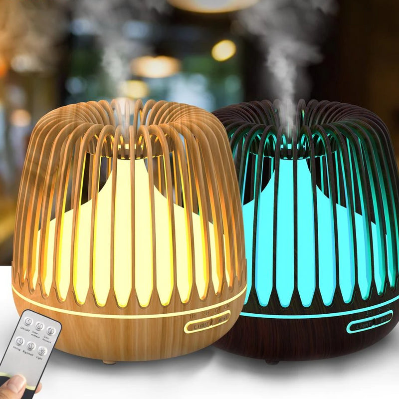 YAJIAO 500ML Aroma Diffuser Essential Oil Ultrasonic Air Humidifier Wood Grain 7 Color Changing LED Lights Cool Mist for Home
