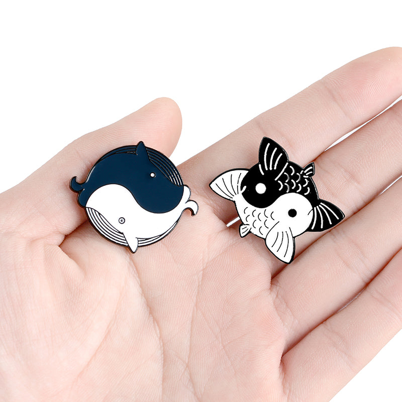 QIHE JEWELRY Tai Chi Yin Yang Fish Pins Taoist Kung Fu Enamel Pins Cute Brooches Badges Denim Clothes Bag Pins Gifts for Friends