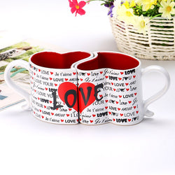 2020 New 2pcs/set Nordic Creative Love Hearts Shape Couple Cup Ceramic Couple Office Coffee Cup For Girlfriend Birthday Gifts