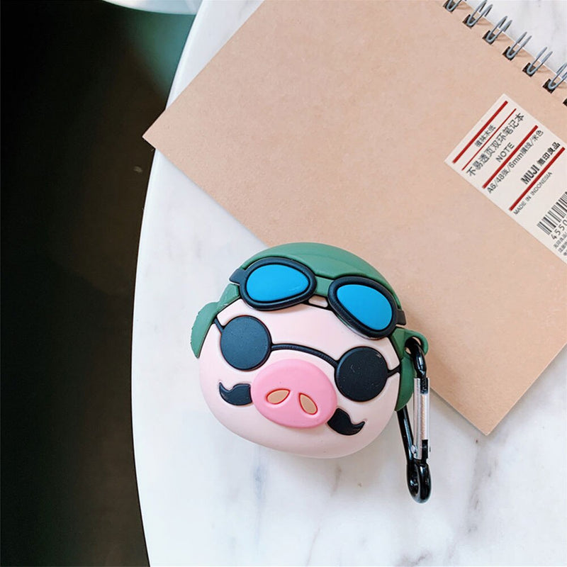 Miyazaki Hayao Cartoon Kurenai No Buta Porco Rosso Pilot Headphone Case For Apple Airpods 1/2 Silicone Protective Earphone Cover