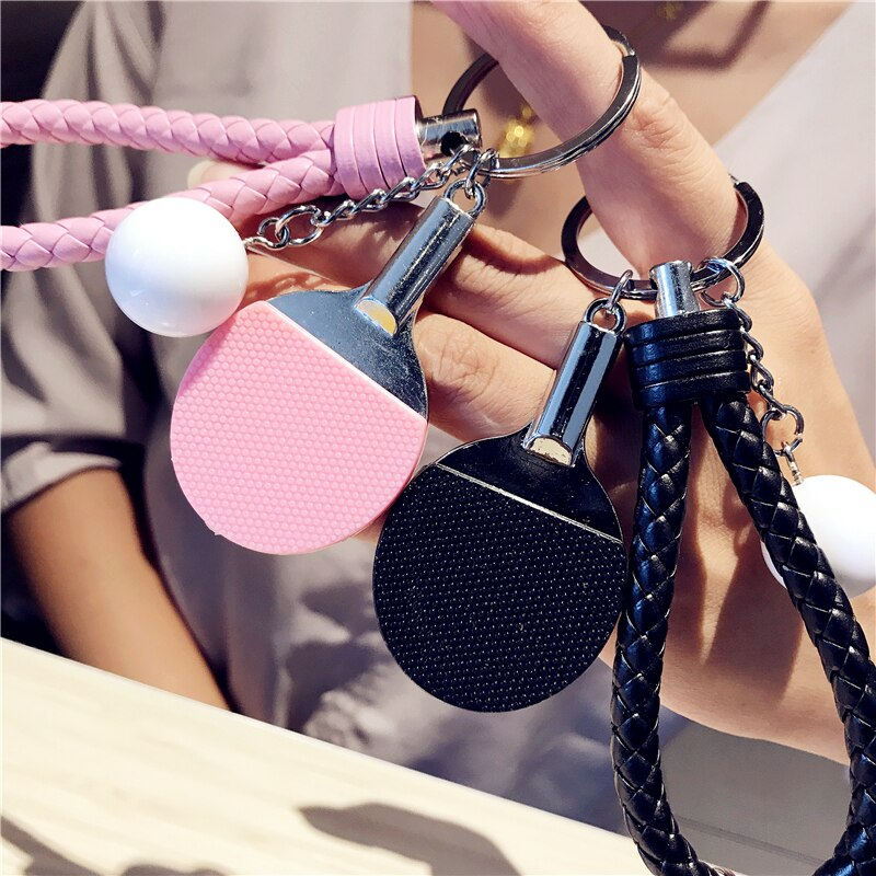 5 Color Sport Ping Pong Table Tennis Ball Keychain Key Chain Auto Key Ring Leather Rope Car Porte Clef Women Charm Bag Pendant