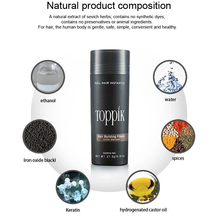 27.5g Toppik Keratin Hair Building Holding Fibers 9 Colors Hair Full Hair Loss Concealer Growth Products hair Care treatment