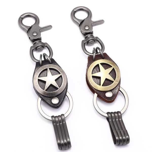 ZG High-quality Antique Silver/Copper Pentagram Shape Leather Keychain for Man Women Fashion Punk Male Metal Car&Door key holder