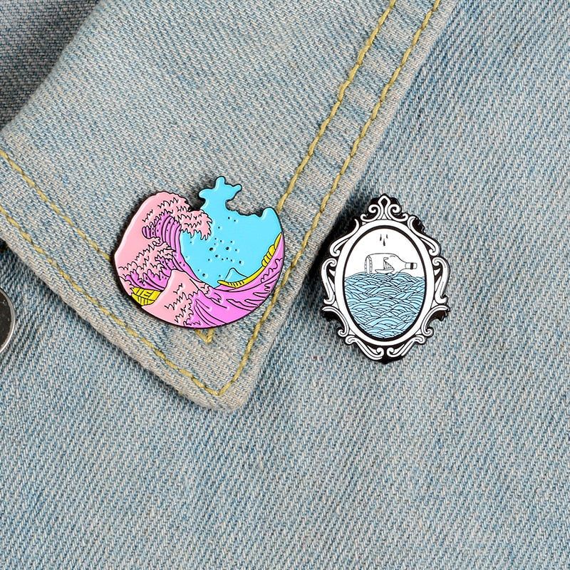 Wave Pins Ocean Sea Wave Brooches Organ Heart Light bulb Whale Hourglass Badges Blue Wave enamel pin collection