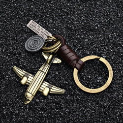 ZG 2019 Fashion Jewelry Vintage Handwork Weave Genuine Leather airplane Keychain Simple Alloy Accessories Men Key Chain jewelry