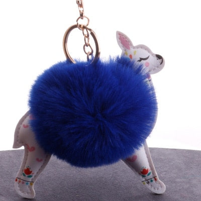 Furry Leather Llama Key Ring