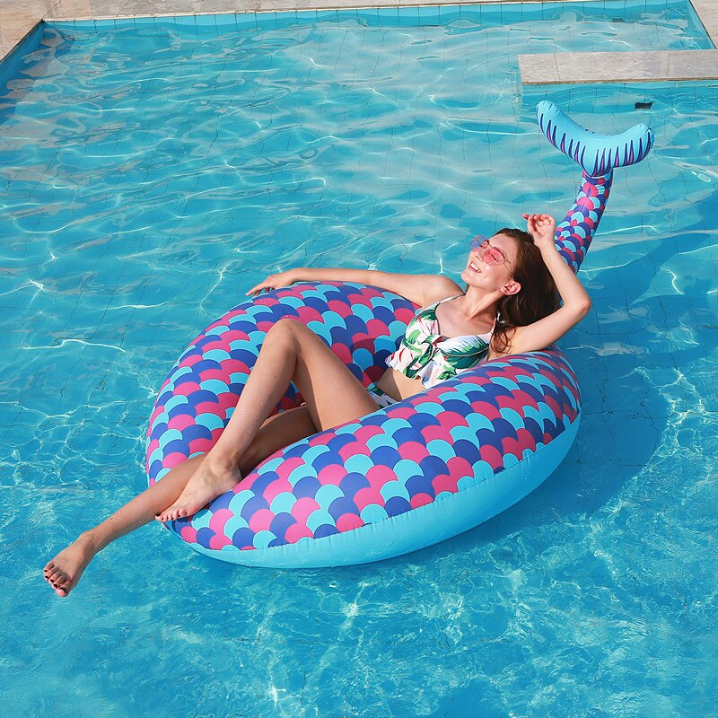 Rooxin 180cm Mermaid Inflatable Swimming Ring for Adult Kids Pool Float Swimming Circle Summer Party Toys Inflatable Mattress