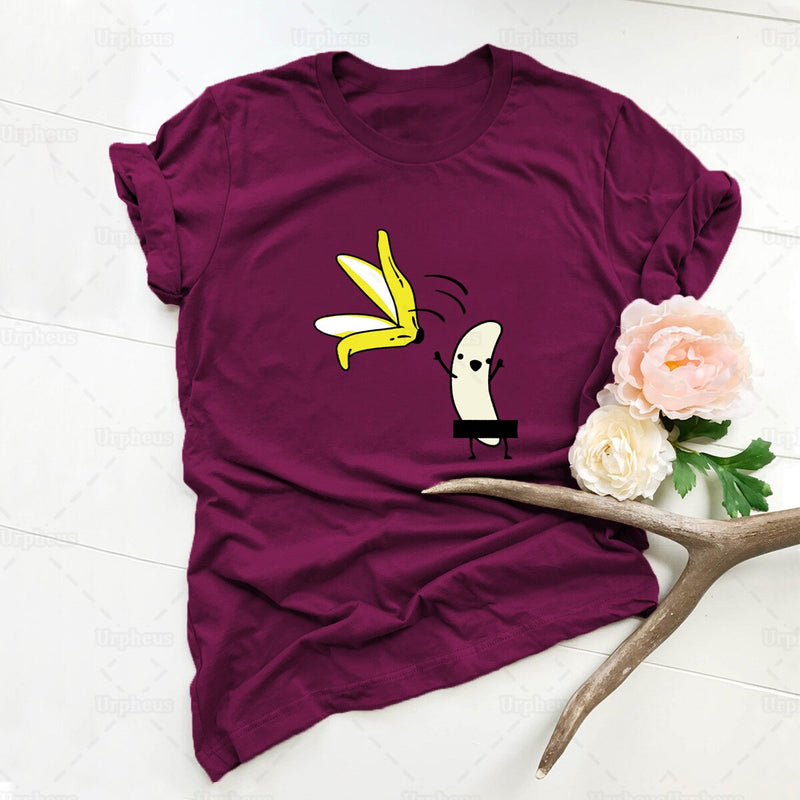 Funny Tshirt Banana Striptease Humor Cute Women Shirt for Her Gift
