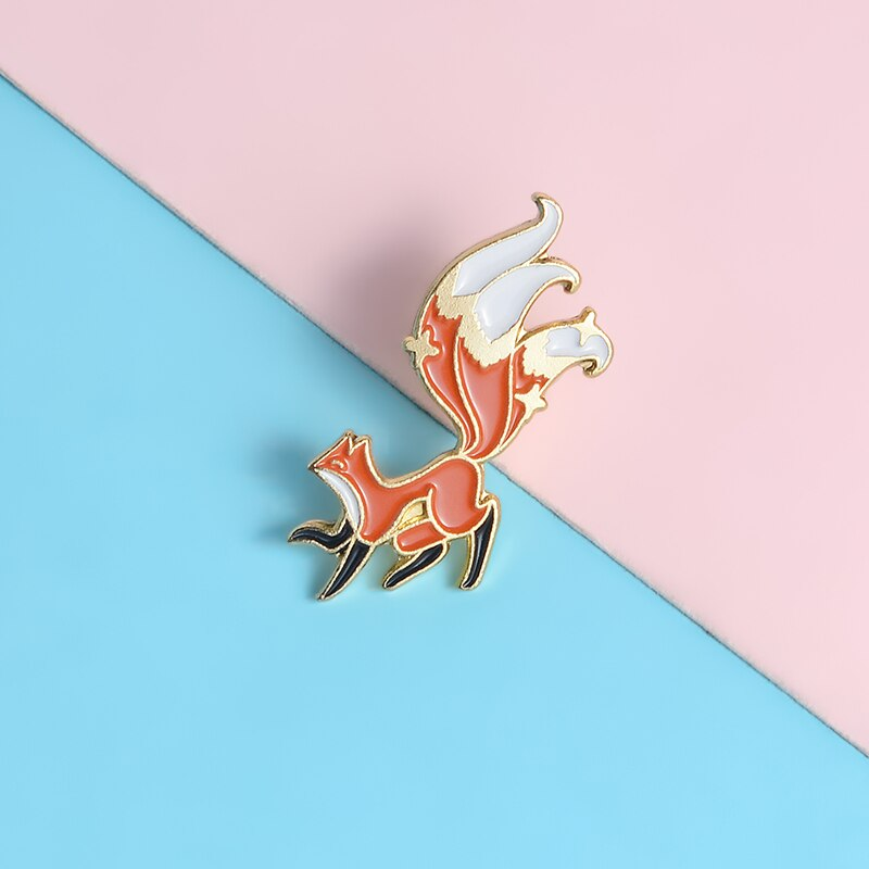 QIHE JEWELRY Three-tailed Fox Brooches Pins Chinese myth era Hard Enamel Metal Pins Denim Clothes Badges Cute Pins Friends Gifts