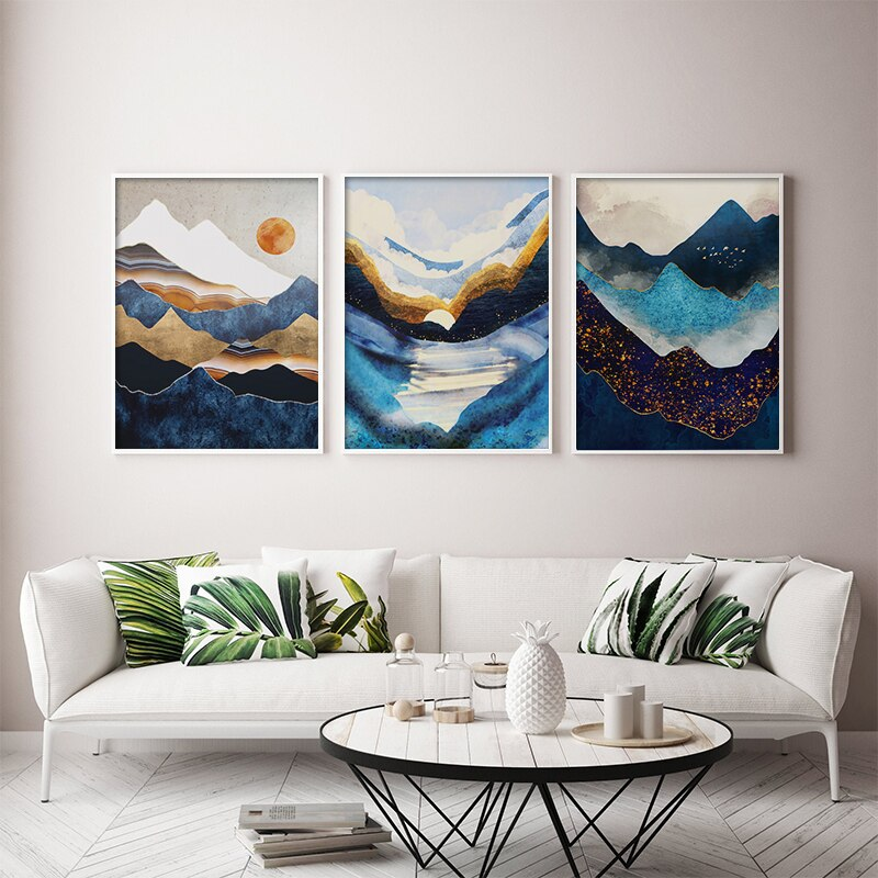 Modern Abstract Wall Art Cloud Peaks Canvas Paintings Indigo Octopus Posters and Prints Picture Decor Tableaux Muraux Moderne
