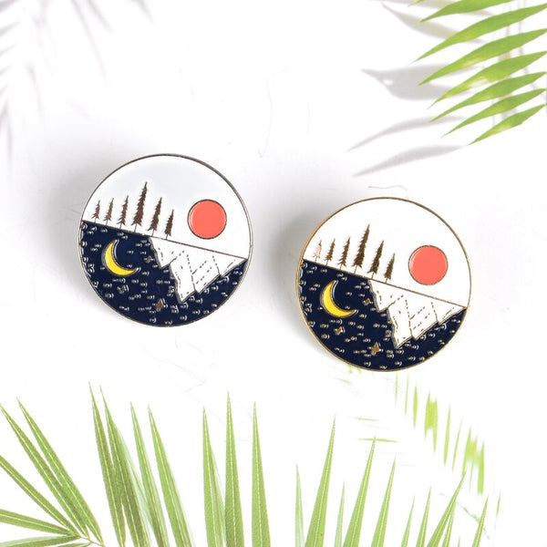 QIHE JEWELRY Day and Night Pins Trees Mountain Sea Brooches Nature Badges Gold and Sliver Jewelry Gift for Friends
