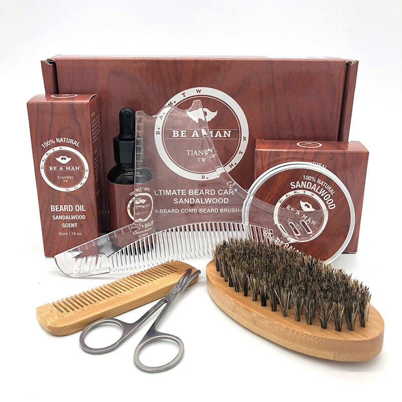 6pcs/set Men Beard Kit Styling Tool Beard Oil Comb Beard Brushes Moisturizing Wax Cream Styling Scissors Beard Care Set