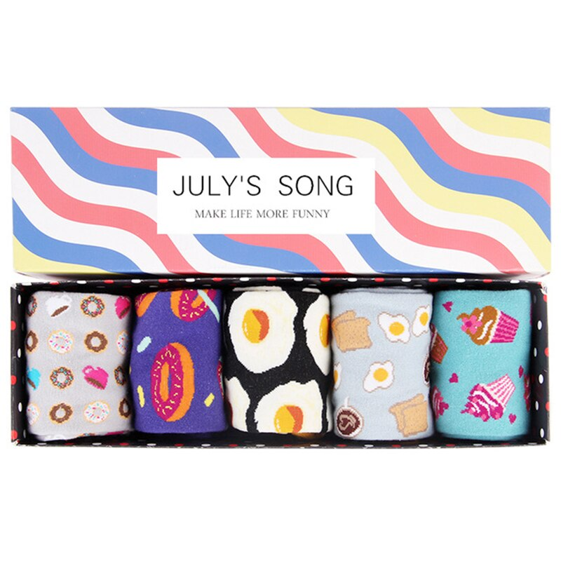 JULY'S SONG Happy Socks Women Funny Art Socks Cartoon Winter Warm Cute Pink Sushi Socks Donuts Toast Grappige Sokken