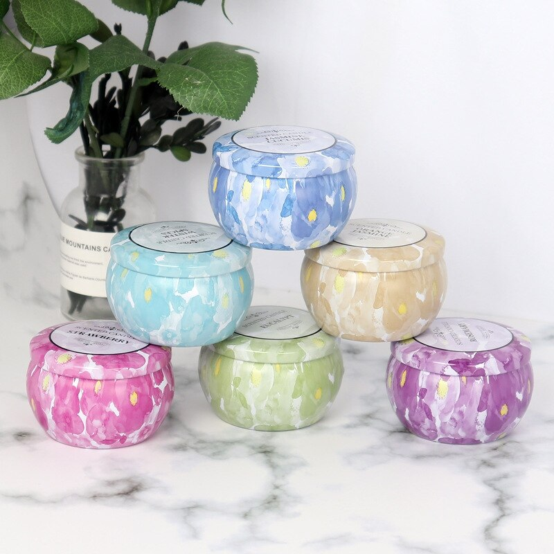 Hot Sell Aromatherapy Candles Multicolor Tins Paraffin Wax Scented Candles For Housewarming Thanks Birthday Valentine's Day Gift