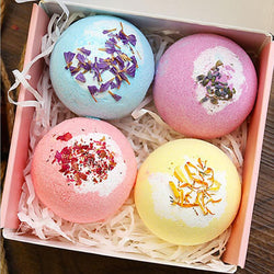 Hot Bath Bomb Gift Set Essential Oil Handmade SPA Stress Relief Exfoliating Bath Salt Moisturizing Bubble Bomb 100g (4pcs in one box)